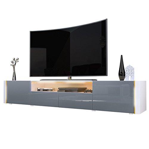 Meuble TV bas Marino V2, Corps en Blanc haute brillance / Façades en Gris laqué haute brillance