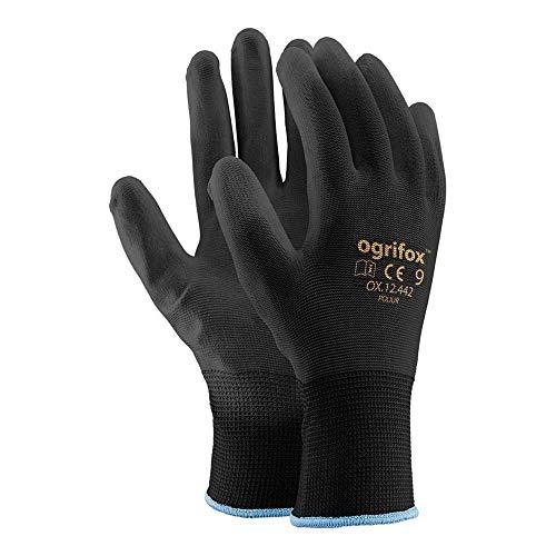 Ogrifox OX-Poliur_Bb9 - Guantes protectores (12 unidades, OX.12.442, pulido), color negro