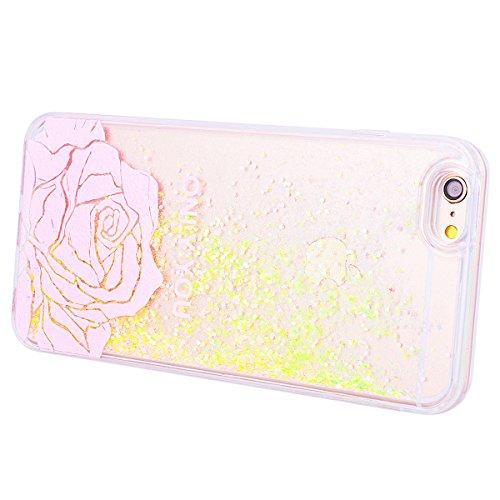 Custodia iPhone 6 / iPhone 6S, VemMore Case di Sabbie Mobili Liquido Glitter Trasparente Flusso Dinamico Sparkly Bling Cover in Difficile Durevole PC Ultra Sottile Chiaro Cristallo Antiurto Anti Graff Oro
