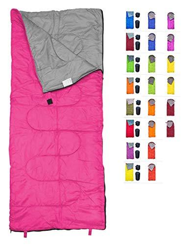 REVALCAMP Rosa Schlafsack für Drinnen & Draußen. Toll für Kinder, Jungen, Mädchen, Jugendliche & Erwachsene. Ultraleichte und Kompakte Schlafsäcke sind ideal zum Wandern, Rucksackwandern & Camping