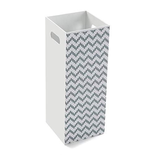 Versa 16710570 Portaombrelli Bianco Geometric Moderno 48,5x22x22cm Legno