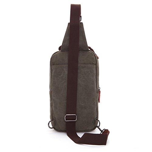 Outreo Herren Brusttasche Kleine Umhängetasche Canvas Schultertasche Vintage Tasche Sporttasche für Sport Herrentaschen Reisetasche Back Pack Retro Taschen Gr¨¹n