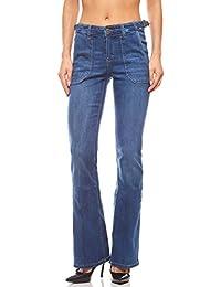 40d34f4ed352 Arizona Jean Taille Haute Simple avec Poches plaquées Taille Courte Bleu