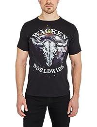 WOA – Wacken Open Air T-Shirt Basique uni Wacken Worldwide, t-Shirt imprimé, t-Shirt avec imprimé sur Le Devant, t-Shirt en Coton, t-Shirt Noir, t-Shirt avec imprimé au Dos, t-Shirt de Fan