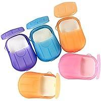 Upstore - Juego de 6 unidades (120 piezas) de mini láminas desechables para lavado de manos, baño, viajes, con aroma de papel de espuma, jabón, baño, lavandería, limpieza de jabón para actividades al aire libre (color al azar)