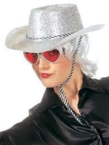 Chapeau de cowboy avec cordon en glitterlook se chapeau avec tête de couleur argent pour adulte