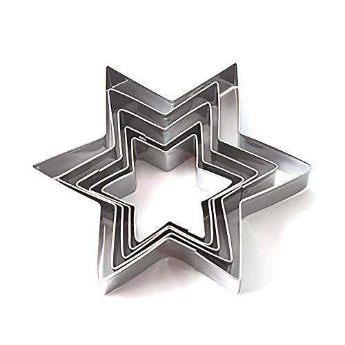 EUTUOPU 5Pcs Cookie Cutter Star Shape DIY Fondant Chocolate Cake Embossing Stencil Stainless Steel Mold Biscuit Mold Baking Tool Star Chocolate Mold