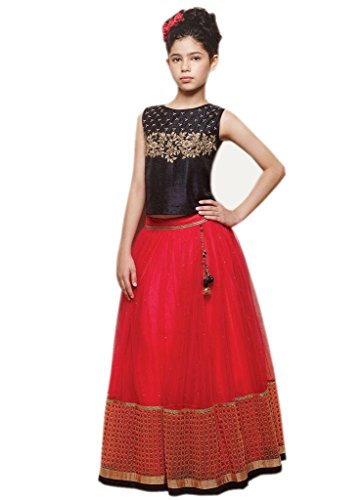 FabTexo Traditional Kids Wear Embroidered Gowns for Girls Party Wear - 10-12 yrs (Ethnic wear _ Girls Party Dresses)