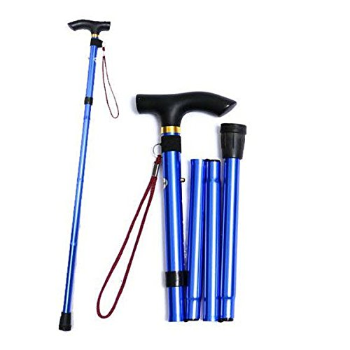 Healifty Travel Trekking Collapsible Cane Anti-Rutsch verstellbarer Gehstock (Blau) (Höhe Verstellbar Cane)