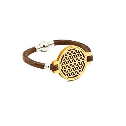 Blume des Lebens - Armband aus Holz - Zirbe (Kiefer) - braunes Lederband - Magnetverschluss - Kiefer Leben