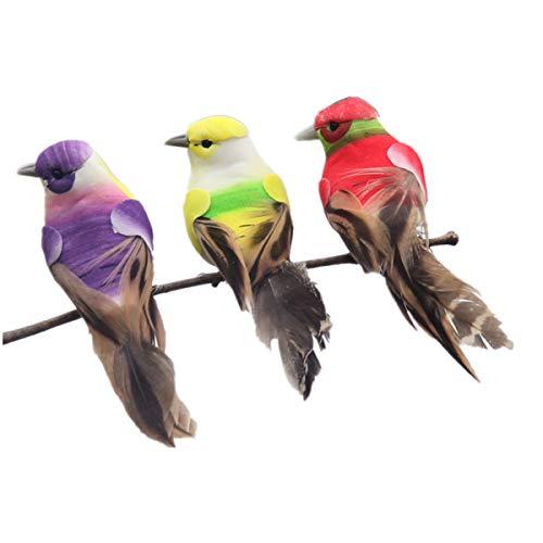 BESPORTBLE 3 stücke Künstliche Gefiederte Vögel Lebensechte Vogel Desktop Ornamente Dekorationen Foto Requisiten für Landschaft Hausgarten (Zufällige -