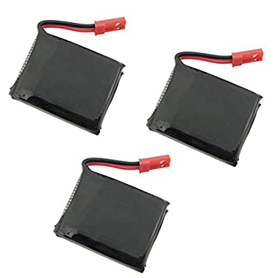 Fytoo Accessories 3PCS 3.7V 650mAh Lipo Battery for X8TW X8T Q1012 Q9 Rc Quadcopter Drone Spare Parts (JST connector)