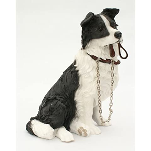 Sitting BORDER COLLIE Dog Ornament - From The Walkies Range Of Collectable Dogs By Leonardo by Dog Ornaments - Border Collie Lovers
