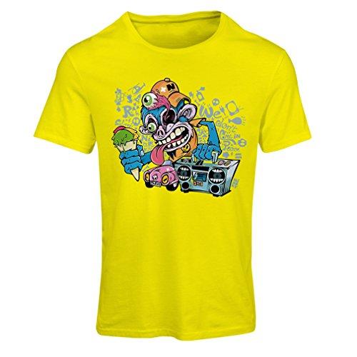 Maglietta Donna The Funky Monkey DJ - anni '80, '90, musica retrò, lettore cassette, moda di strada Giallo Multicolore