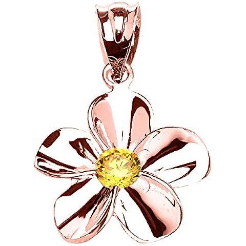 Donne Collana Pendente 10 Ct Rosa Oro Hawaiano Plumeria Citrino (Viene Fornito Con Una Catena Da 45cm)
