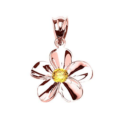 Donne Collana Pendente 14 Ct Rosa Oro Hawaiano Plumeria Citrino (Viene Fornito Con Una Catena Da 45cm)