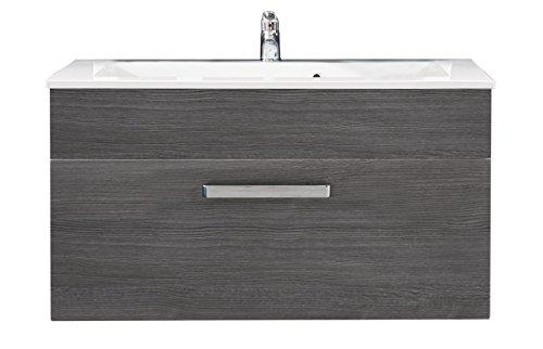 trendteam ADO31521 Hänge-Waschbeckenunterschrank inklusive Waschbecken Rauchsilber, BxHxT 101x54x46 cm