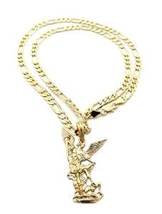 Collier couleur or à pendentif de l'Archange Michael, chaîne Figaro l.5 mm L.61 cm XSP399G