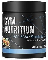 BCAA PULVER + VITAMIN B6 - Höchste Dosierung der Amino-Säuren Leucin, Isoleucin und Valin im Verhältnis 2:1:1 - Vegan und hochdosiert - Geschmack: ICE TEA PEACH