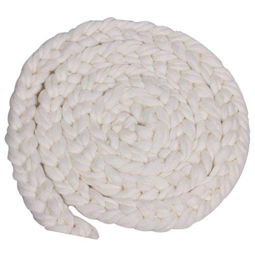 Neugeborene Baby-Roving Braid Wolle Spinnen Faser-Teppiche Fotografie Props Blau - Weiß, XL