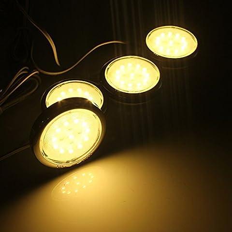 EFK LED Sotto Cabinet Kit di illuminazione, confezione da 4, totale di 5 Watt, 510 lm, tutti gli accessori inclusi, non dimmerabile kit di illuminazione Luci per Armadio / armadio da cucina Illuminazione A LED Cucina