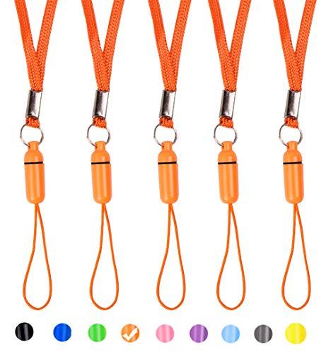 ZhaoCo 5 Stück 17 Zoll Nylon Hals Lanyards Straps für Handys, Kameras, USB-Sticks, Schlüsselanhänger, iPod, mp3, mp4, PSP Wii und andere Elektronikgeräte - Orange