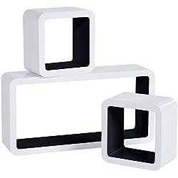 WOLTU RG9229sz Lot de 3 Étagère Murale Salon du Cube rétro Étagère,étagère Cube Murale en Bois MDF, étagère CD DVD Murale,Blanc Noir