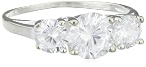 Elements Sterling Silver R2045C 52 Ladies' Clear Cubic Zirconia Three Stone Ring - Size M
