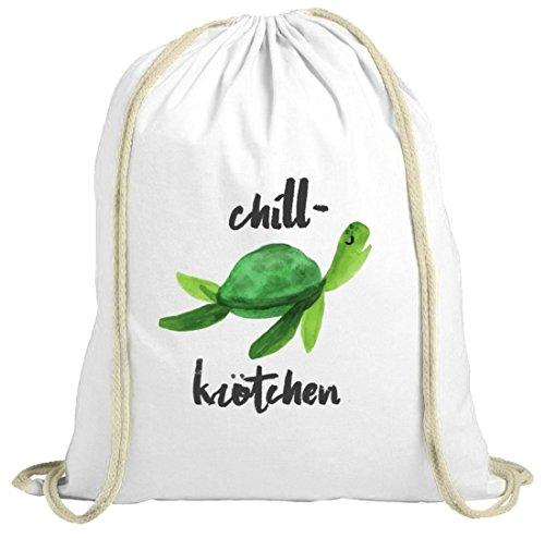 Turtle Schildkröte natur Turnbeutel mit Chillkrötchen 2 Motiv von ShirtStreet weiß natur