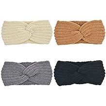 DRESHOW 4 Pezzi Crochet Turbante Fascia Capelli Tessuto di Lana Fascia da Donna  Invernale Accessori per e988e9258e7a