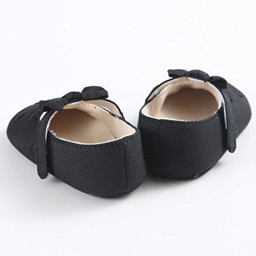 Hunpta Baby Mädchen Bogen-Knoten Canvas Schuhe Sneaker rutschfest weiche Sohle Schuhe (Alter: 0 ~ 6 Monate, Rosa) Schwarz