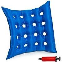 Medical gonflable Coussin d'assise, Goodchanceuk 40x 40cm en PVC anti-escarres Galbe gaufré Air assis Tapis de construction scellé pour chaise de roue avec pompe Bleu