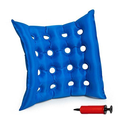Medical aufblasbares Sitzkissen, goodchanceuk 40x 40cm PVC Anti-Dekubitus-Waffle Air sitzend Matte versiegelt Konstruktion für Rad Stuhl mit Pumpe Blau
