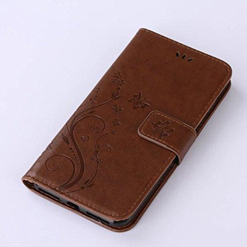 iPhone 7Plus Case, Augus tcoco Stand Wallet Purse Credit Card ID Holders Magnetic Étui folio souple TPU Bumper en cuir PU ultra slim fit Cover For iPhone 7Plus marron