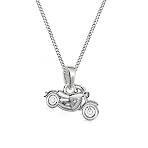 GH1a 3D Kleine Motorrad ANHÄNGER mit KETTE 925 Echt Silber Kinder Jungs Geschenkidee Set