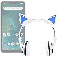 DURAGADGET Auriculares Plegables estéreo con diseño de Orejas de Gato en Color Blanco para Smartphone DOOGEE