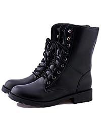 La mujer Otoño Invierno par zapatos botas de piel exterior de la Oficina &Carrera talón plano informalCordón caminando,Negro,US6.5-7 / UE37 / UK4,5-5 / CN37