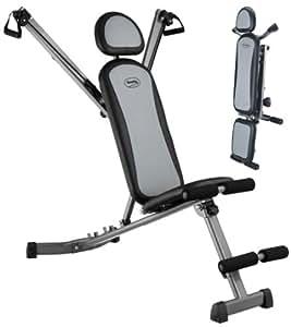 """body coach Banc d'entraînement pliable """"Multi-Gym""""Noir/Gris 127 x 55 x 116 cm"""