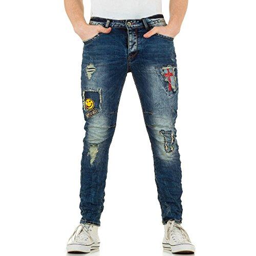 Herren Jeans, DESTROYED KNITTER SLIM JEANS, KL-H-AD6806 Blau