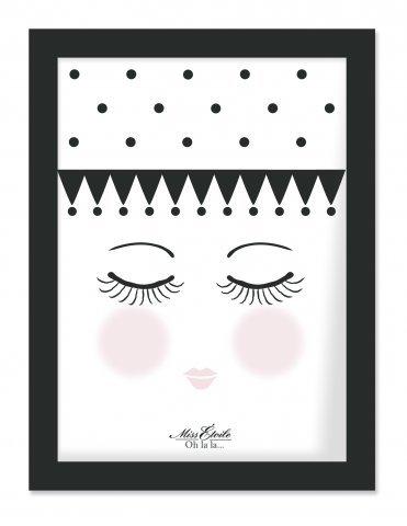 Preisvergleich Produktbild Miss Etoile Bild mit schwarzem Rahmen 'Eyes and dots'