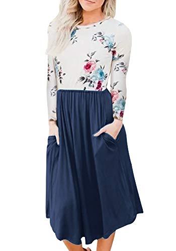 Yidarton Damen Longsleeve Kleid Kurzarm Kleid A-Linie Kleider Rundhals Blumendruck Patchwork Casual Plissee Midikleid mit Taschen - Long Sleeve Damen Kleid