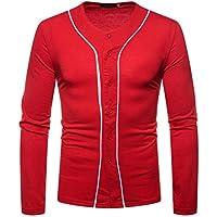 Herren Sweatshirt,TWBB Männer Taste Pullover Herbst Winter Patchwork V-Neck Oberteile Lange Ärmel Jacke Mantel Slim Outwear