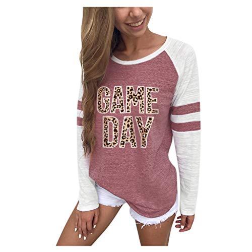 SatinGold Damen Gestreift Pulli Langarm T-Shirt Rundhals Ausschnitt Lose Bluse Hemd Pullover Oversize Sweatshirt Oberteil Tops Shirts -