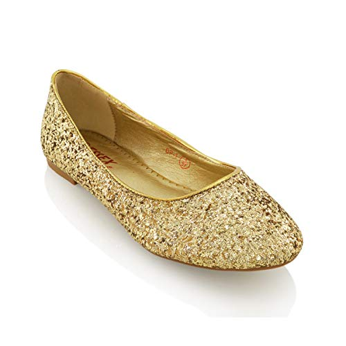 ESSEX GLAM Damen Glitzer Ballerinas Flach Klassische Brautschuhe Pumps Party Schuhe (EU 40, New Gold Glitter)