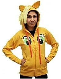 My Little Pony Applejack Gesicht orangenes Kinderostüm Hoodie mit Mähne