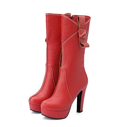 VogueZone009 Damen Mitte-Spitze PU Leder Niedriger Absatz Rund Zehe Ziehen auf Stiefel, Rot, 36