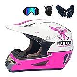 AA-Helmet TOKU Motocross-Helm-Set mit Schutzbrillen-Handschuhmaske, Weiß und Pink,...