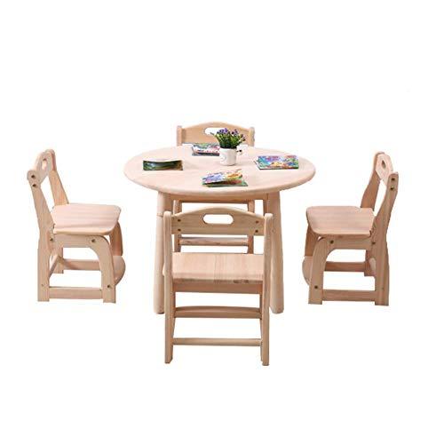 ZH Kinder Runden Tisch Und 2/4 Stuhl-Set,Sitzgruppen Kleinkinder Massivholz AktivitäT Tisch Spieltisch Esstisch, Kinderzimmer Spielzimmer MöBel, Stabiles Hartholz  -