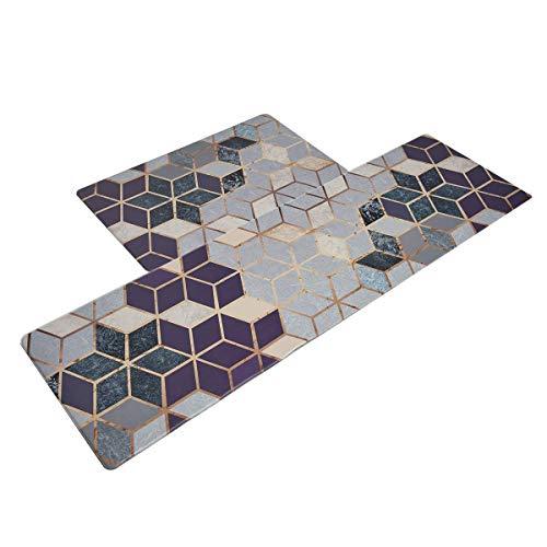 eujiancai Anti Fatigue Kitchen Floor Mat Set of 2, Comfort Heavy Duty Standing Mats,Waterproof PVC Non Slip Washable for Indoor Outdoor (18x30Inch+20x55Inch, Geometric Patterns)