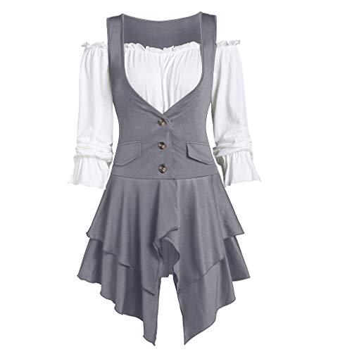 LILIHOT Frauen plus Größen Mantel Blusen Knopf zweiteilige Satz Taschen überlagerte Behälter lange Hülse UnregelmäßIge Normallack Herbst Art Weiseelegante Rock Kleid -
